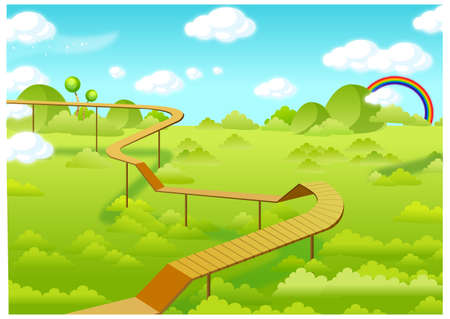 This illustration is a common natural landscape. Wooden freeways over forest Vector
