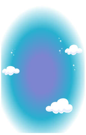 This illustration depicts a young child's dream world. Clouds in blue sky Stock Vector - 15901492