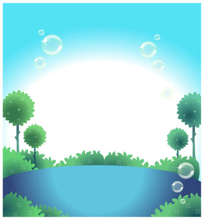 This illustration depicts a young child's dream world. Water and blue sky Stock Vector - 15881789