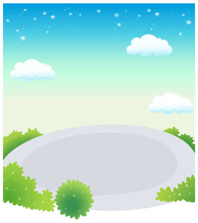 This illustration depicts a young child's dream world. Empty swimming pool against blue sky Stock Vector - 15881249