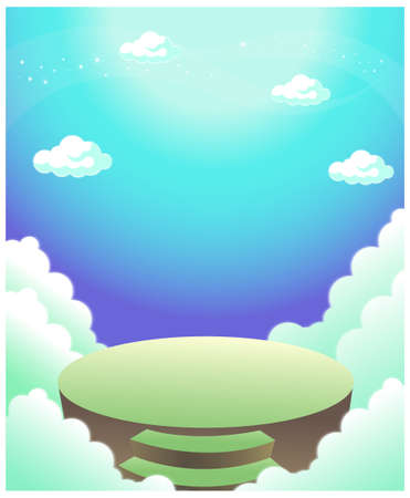 This illustration depicts a young child's dream world. Steps and clouds Stock Vector - 15901420