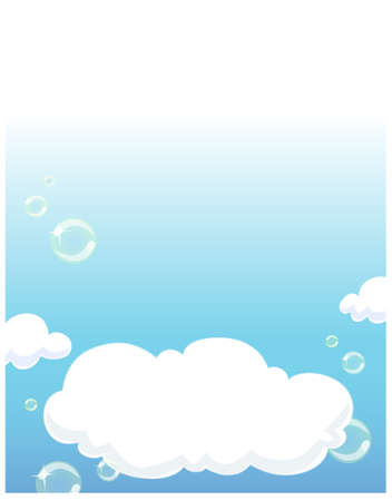 This illustration depicts a young child's dream world. Clouds in blue sky Stock Vector - 15881560