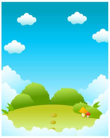 This illustration depicts a young child's dream world. Green landscape and blue sky Stock Vector - 15881660