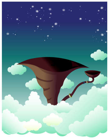 This illustration depicts a young child's dream world. Trumpet in sky Stock Vector - 15901312
