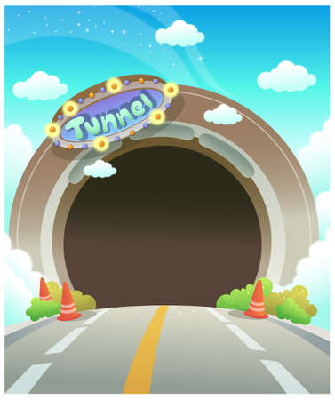 This illustration is a common cityscape. Empty decorative tunnel Illustration