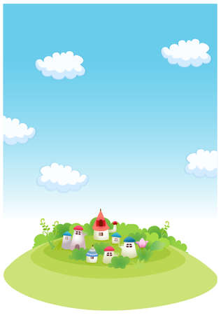 This illustration depicts a young child's dream world. Rural houses on  green landscape and blue sky Stock Vector - 15881618