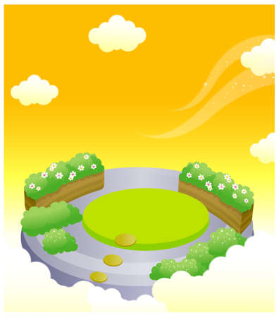 This illustration depicts a young child's dream world. Formal garden in sky Stock Vector - 15900980
