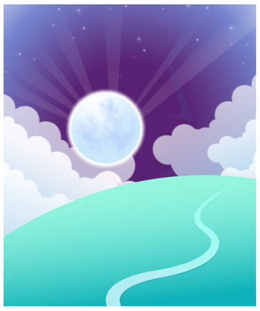 This illustration depicts a young child's dream world. Curved path over land and sunrise Stock Vector - 15901318