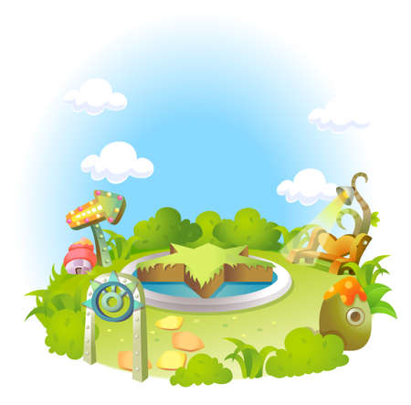 vertical garden: This illustration depicts a young childs dream world. Formal garden on green landscape and blue sky