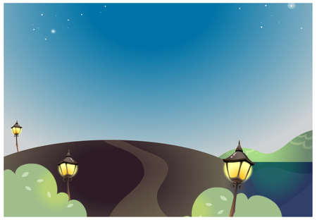 curved path: This illustration depicts a young childs dream world. Night landscape with street lamp