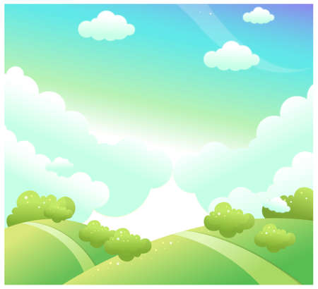 curved path: This illustration depicts a young childs dream world. Green landscape and blue sky