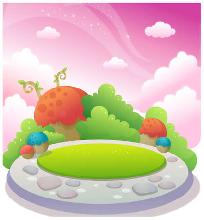 This illustration depicts a young child's dream world. Garden in blue sky Stock Vector - 15901160