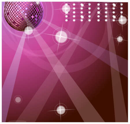 This illustration is a common cityscape. Background with disco ball  Vector