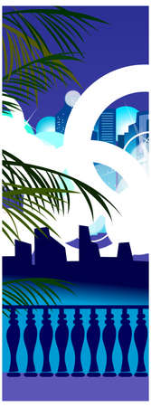 balcony view: This illustration is a common cityscape. Cityscape outside the window  Illustration