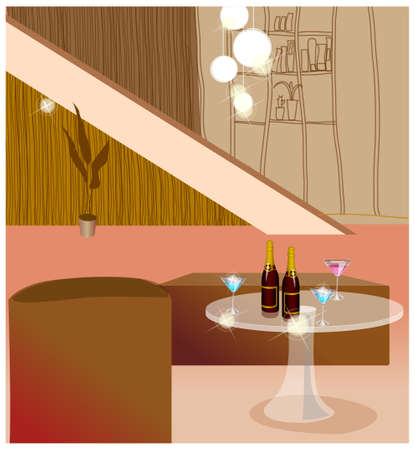 This illustration is a common cityscape. Living room with bottle of wine and glasses on table Vector
