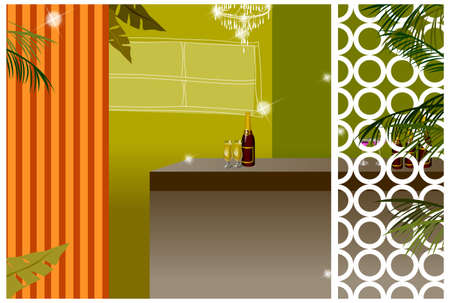 This illustration is a common cityscape. Bottle of wine and wine glasses on bar counter Stock Vector - 15881793