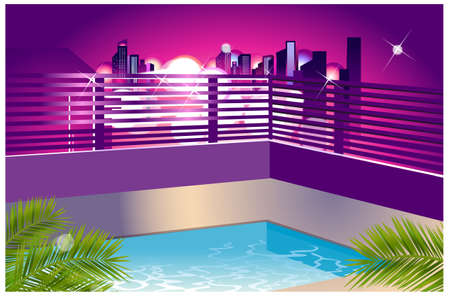 This illustration is a common cityscape. Cityscape outside the window  Vector