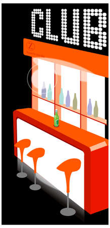 This illustration is a common cityscape. Club counter interior Vector