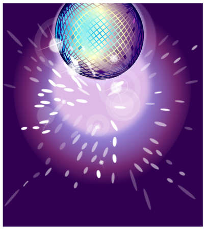 This illustration is a common cityscape. Shiny disco ball on nightclub  Vector
