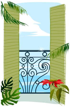 balcony door: Esta ilustraci�n es un paisaje urbano com�n. Ver a trav�s de la puerta del balc�n al mar