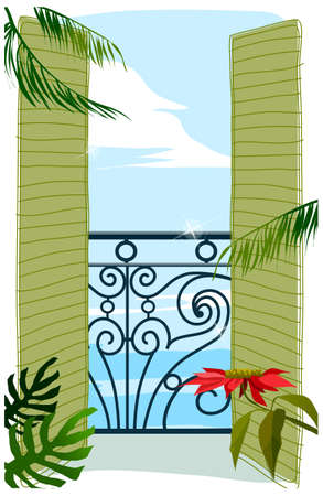 balcony view: This illustration is a common cityscape. View through balcony door to sea