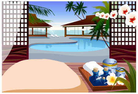 This illustration is a common cityscape. Indoor swimming pool of resort hotel Stock Vector - 15900880