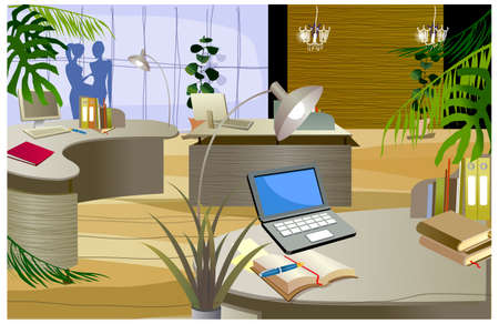 This illustration is a common cityscape. Office interior Stock Vector - 15887411
