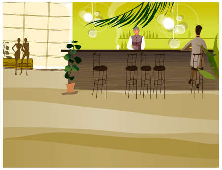 This illustration is a common cityscape. Bar counter Vector
