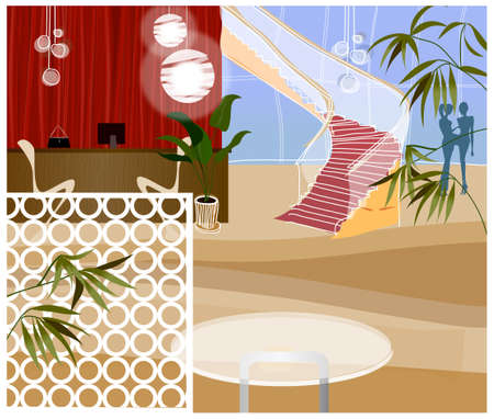 This illustration is a common cityscape. Reception desk at end of corridor Vector