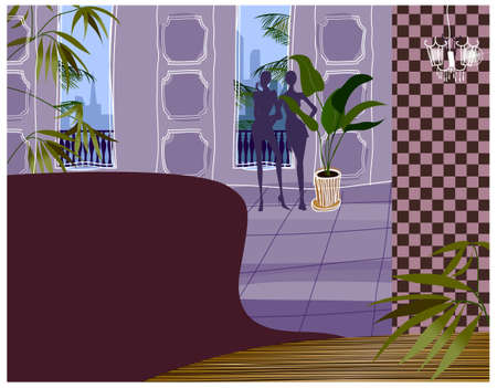 balcony view: This illustration is a common cityscape. Hotel interior
