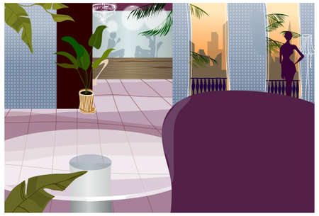 This illustration is a common cityscape. Hotel interior Vector