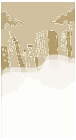 This illustration is a common cityscape. Buildings sinking in flood water Stock Vector - 15881580