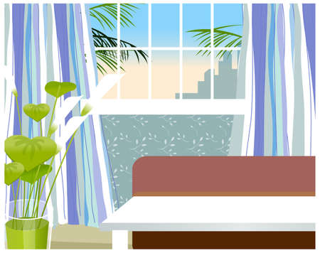 This illustration is a common cityscape. Living room inter Stock Vector - 15880070