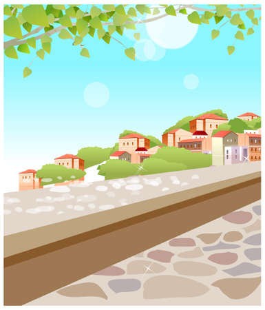 This illustration is a common cityscape. Building exterior seen from surrounding wall Stock Vector - 15901161