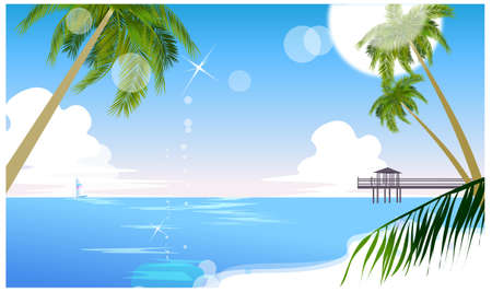 This illustration is a common cityscape. Idyllic beach with palm tree