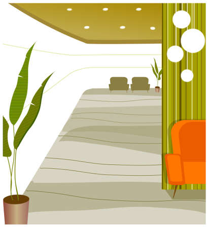 This illustration is a common cityscape. Empty modern lobby of residential building Stock Vector - 15881133