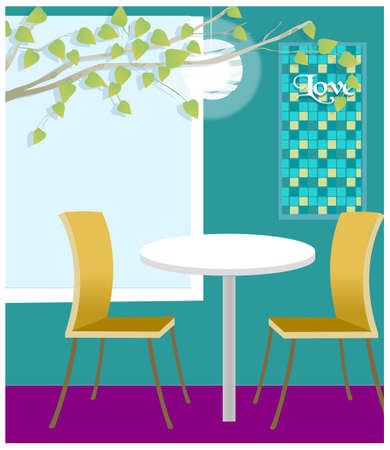This illustration is a common cityscape. Table for two in cafeteria Vector