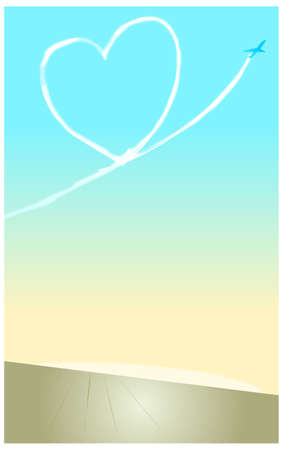 vapor trail: This illustration is a common cityscape. Heart-shaped contrail in sky