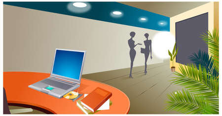 desk light: This illustration is a common cityscape. Office interior, with laptop opened on desk