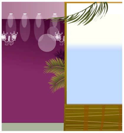 This illustration is a common cityscape. Spot light and window Stock Vector - 15881608