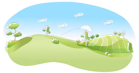 This illustration is a common natural landscape. Rolling landscape  Stock Vector - 15881582