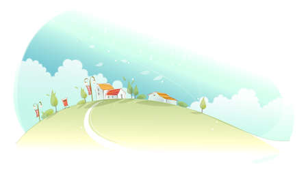 This illustration is a common natural landscape. Rural houses on green mountain Stock Vector - 15881650