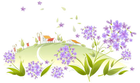 curved path: This illustration is a common natural landscape. House on a green landscape with allium flower  Illustration