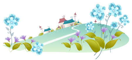 curved path: This illustration is a common natural landscape. House on a green landscape with flower plants