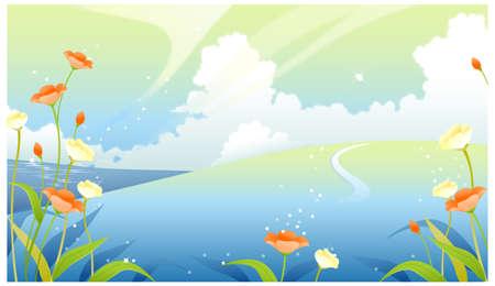 dramatic sky: Esta ilustraci�n es un paisaje natural com�n. Paisaje con el cielo nublado y plantas de flor