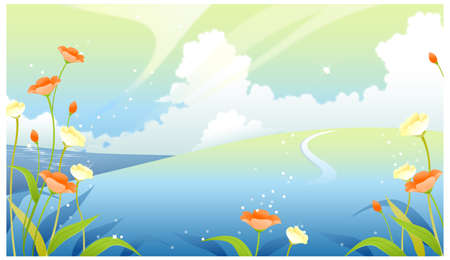 curved path: This illustration is a common natural landscape. Landscape with clouded sky and flower plants