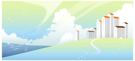 This illustration is a common natural landscape. Curved path towards building Vector