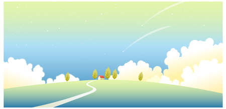 curved path: This illustration is a common natural landscape. House on a landscape