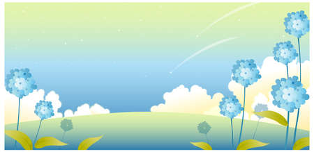 This illustration is a common natural landscape. Landscape with flowers and sky  Stock Vector - 15881308