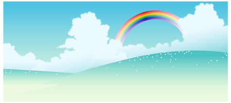 This illustration is a common natural landscape. Landscape with a rainbow in the background Stock Vector - 15887401